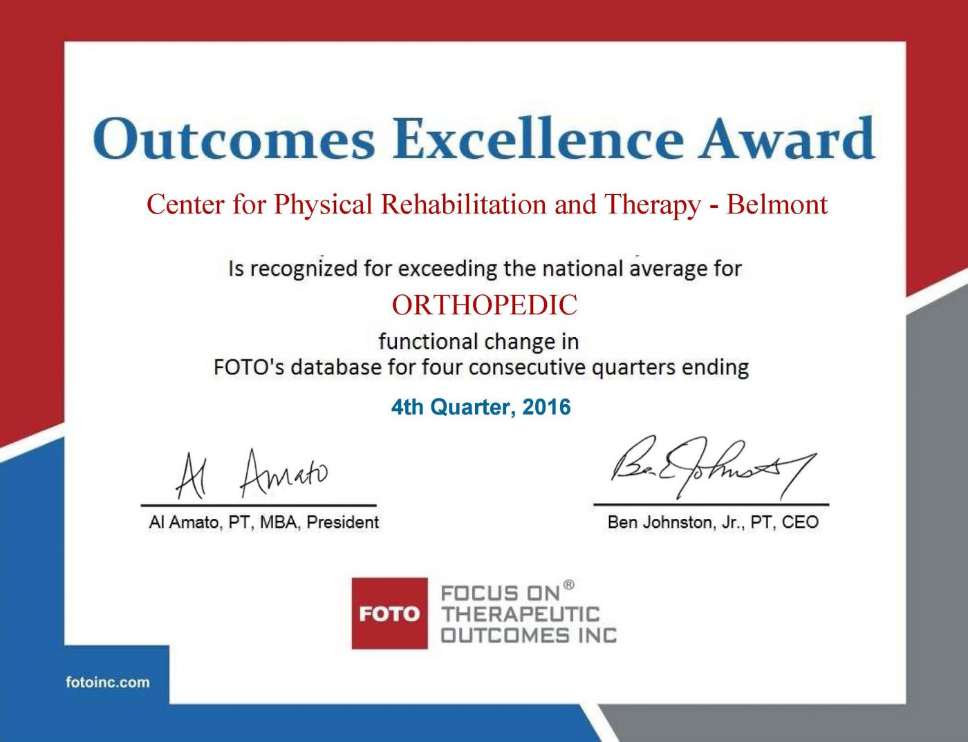 Belmont Outcomes Excellence Award Fourth Quarter 2016