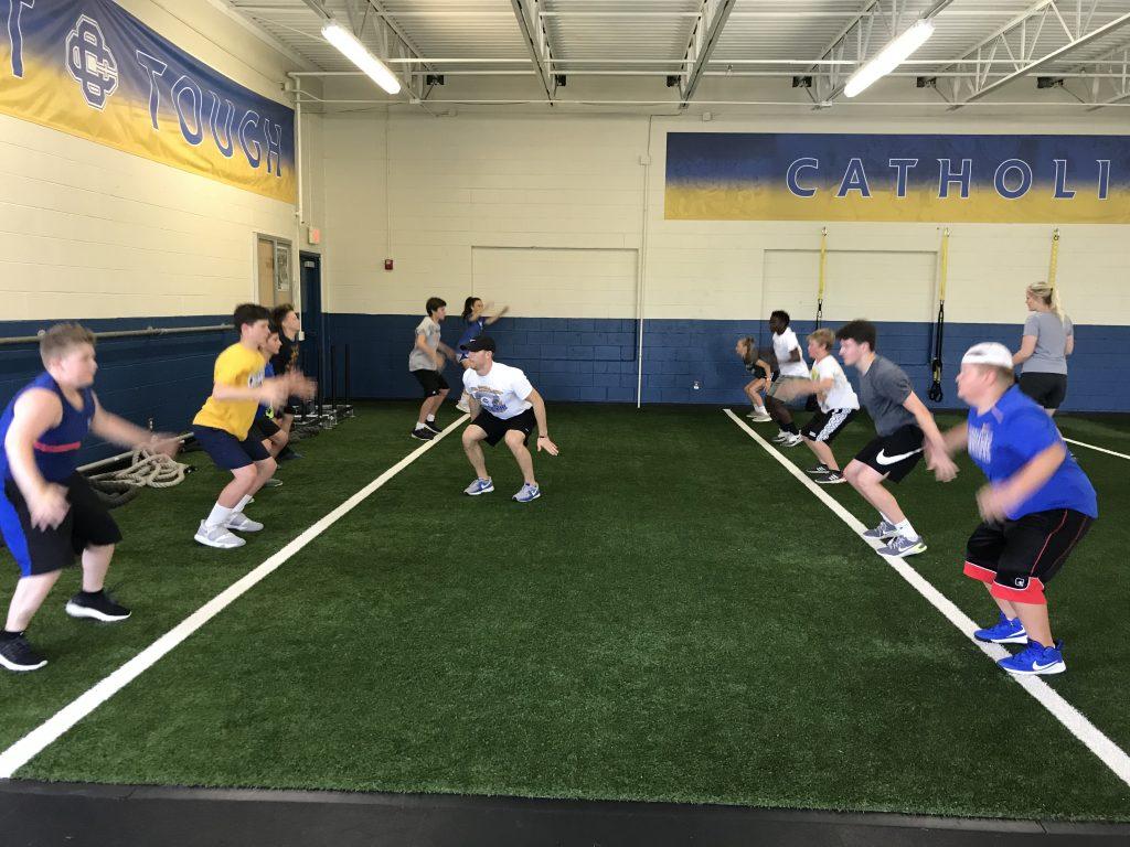 high school students strength training
