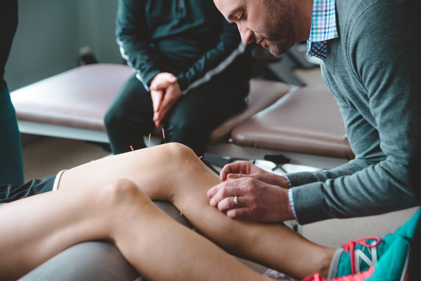 Dry needling on patients knee