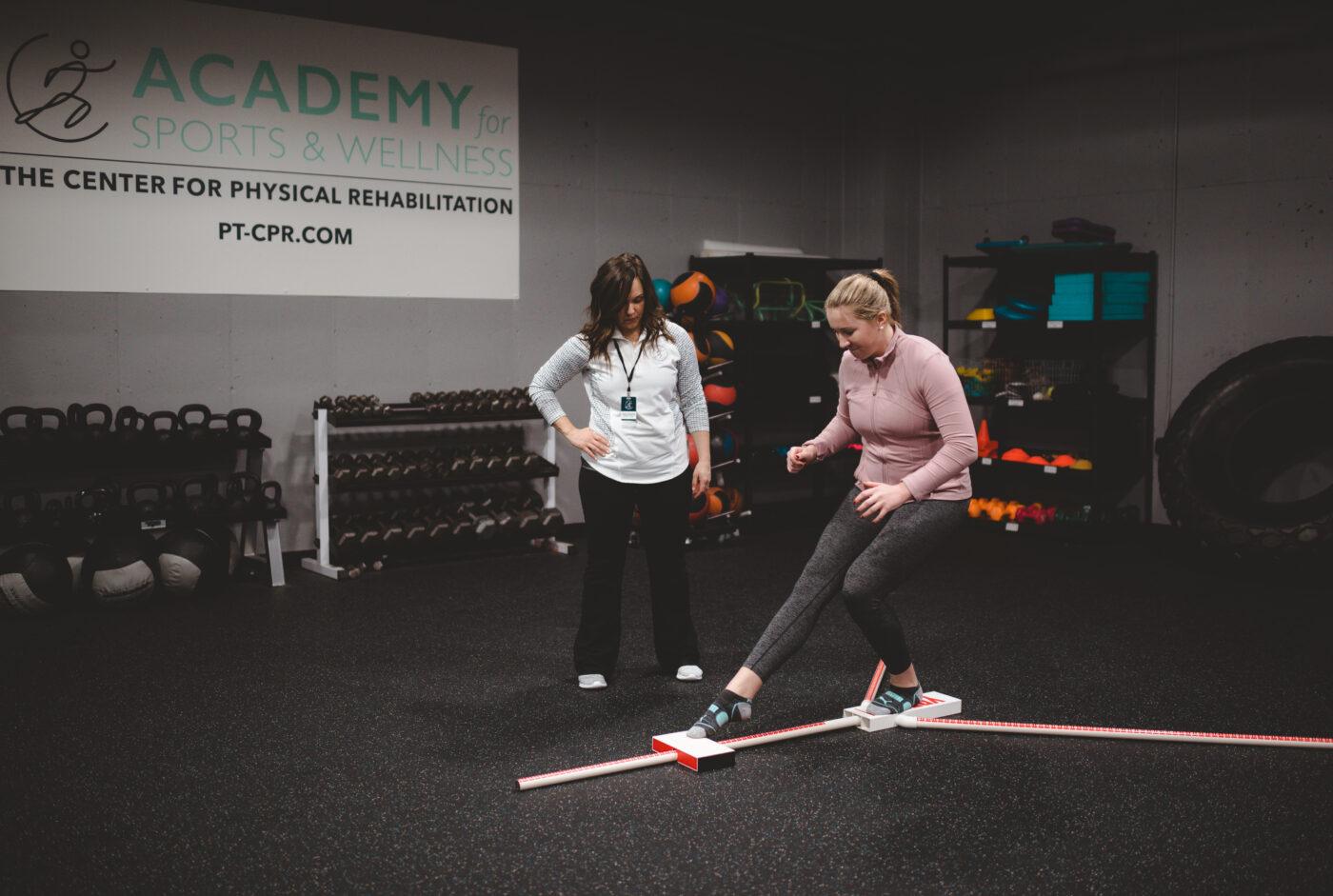 Female athlete doing y-balance test